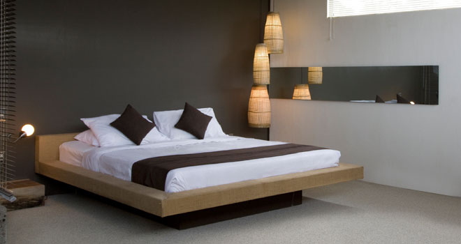 king size bed in the loft apartment at clio bali. Clio Hotel Seminyak Bali   minimalist studio design loft villas